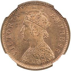 BRITISH INDIA: Victoria, as empress, 1877-1901, AE 1/2 pice, 1893 (c). NGC MS65