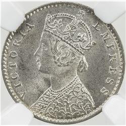 BRITISH INDIA: Victoria, Empress, 1876-1901, AR 2 annas, 1900-C. NGC MS65