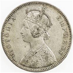 BRITISH INDIA: Victoria, as Empress, 1877-1901, AR rupee, 1885-B. VF