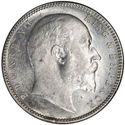 BRITISH INDIA: Edward VII, 1901-1910, AR rupee, 1904-B. PCGS MS62