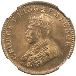 BRITISH INDIA: George V, 1910-1936, AE 1/4 anna, 1931 (c). NGC MS66