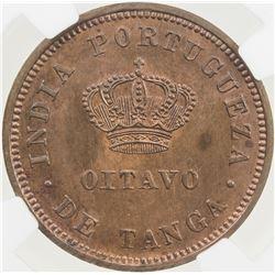 PORTUGUESE INDIA: Luiz I, 1861-1889, AE 1/8 tanga, 1881. NGC MS64