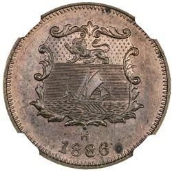 BRITISH NORTH BORNEO: Victoria, 1881-1901, AE 1/2 cent, 1886-H. NGC SP63
