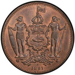 BRITISH NORTH BORNEO: AE cent, 1891-H
