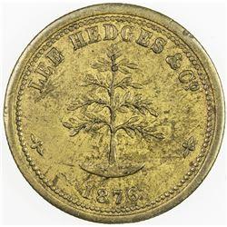 CEYLON: brass token, 1876. EF, This token was struck of yellow brass