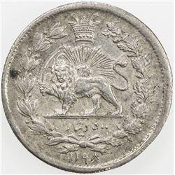IRAN: Nasir al-Din Shah, 1848-1896, AR 500 dinars, Tehran, AH1298. EF