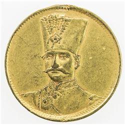 IRAN: Nasir al-Din Shah, 1848-1896, AR toman (2.80g), Tehran, ND. VF