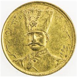 IRAN: Nasir al-Din Shah, 1848-1896, AR toman (2.88g), Tehran, AH1297. EF