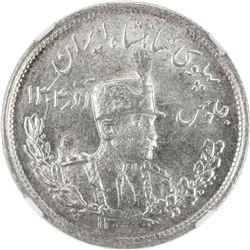 IRAN: Reza Shah, 1925-1941, AR 2000 dinars, SH1308. NGC MS62