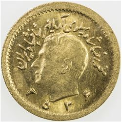 IRAN: Mohammad Reza Pahlavi, 1941-1979, AV 1/4 pahlavi, MS2536 (1977). UNC