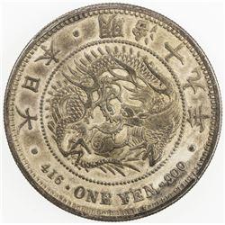 JAPAN: Meiji, 1868-1912, AR yen, year 19 (1886). EF