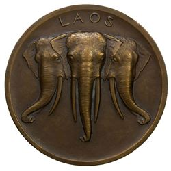 LAOS: AE medal (98.12g), ND (1930-1). UNC