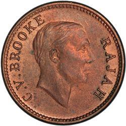 SARAWAK: Charles V. Brooke, 1917-1946, AE 1/2 cent, 1933-H. PCGS MS63