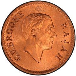 SARAWAK: Charles V. Brooke, 1917-1946, AE cent, 1937-H. PCGS MS64