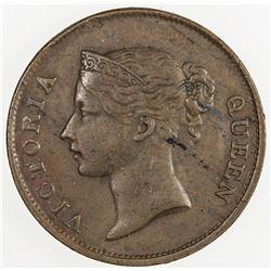 STRAITS SETTLEMENTS: Victoria, 1837-1901, AE cent, 1862. EF