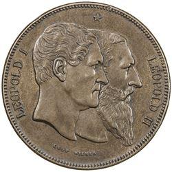 BELGIUM: Leopold II, 1865-1909, AE 5 francs, 1880. EF
