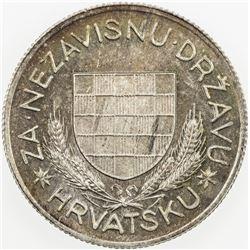 CROATIA: AR 5 kuna, 1934. UNC, KM-Pn7, attractive toning, Unc