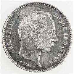 DENMARK: Christian IX, 1863-1906, AR krone, 1892. UNC