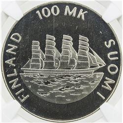 FINLAND: Republic, AR 100 markkaa, 1991. NGC PF67