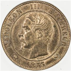 FRANCE: Napoleon III, 1852-1870, AE 10 centimes, 1853. ANACS MS63