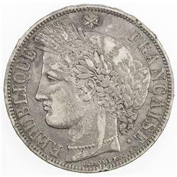 FRANCE: Third Republic, AR 5 francs, 1870-A. VF-EF