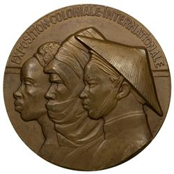 FRANCE: AE medal (191.5g), 1931, 68mm bronze medal for the International Colonial Exposition