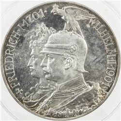 PRUSSIA: Wilhelm II, 1888-1918, AR 5 mark, 1901. ANACS MS64