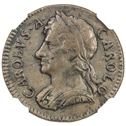 ENGLAND: Charles II, 1660-1685, AE farthing, 1675. NGC EF45