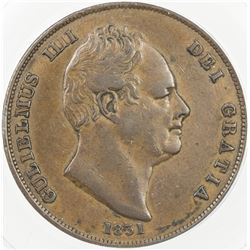 GREAT BRITAIN: William IV, 1830-1837, AE penny, 1831. ANACS EF45