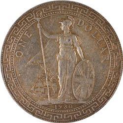 GREAT BRITAIN: George V, 1910-1936, AR trade dollar, 1930-B. PCGS AU55