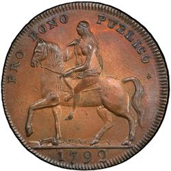 GREAT BRITAIN: AE halfpenny token, 1792. PCGS UNC