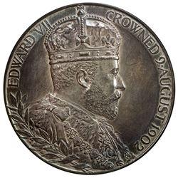 GREAT BRITAIN: Edward VII, 1901-1910, AR medal (85.52g), 1902. UNC