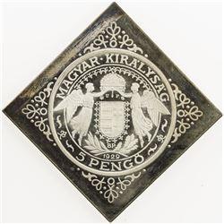 HUNGARY: Miklos Horthy, regent, 1920-1944, klippe AR 5 pengo, 1929-BP. PF