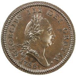 ISLE OF MAN: George III, 1760-1820, AE penny, 1786. AU