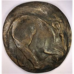 ITALY: AE medal, ND (1998), 165mm bronze medal by abstract sculptor Robert Cook
