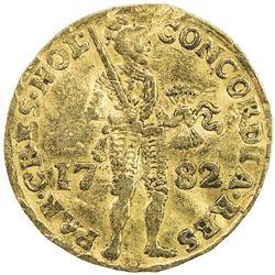 HOLLAND: AV ducat (3.40g), 1782. VF, slightly wavy flan, some damage, probably from mount removal