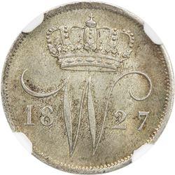 NETHERLANDS: Willem I, 1815-1840, AR 10 cent, 1827(u). NGC MS66