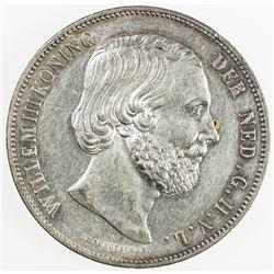 NETHERLANDS: Willem III, 1849-1890, AR 2 1/2 gulden, 1859. AU