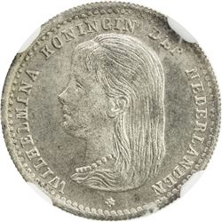 NETHERLANDS: Wilhelmina, 1890-1948, AR 10 cents, 1892. NGC MS65