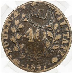 PORTUGAL: AE 40 reis, ND [1847]. NGC VG10