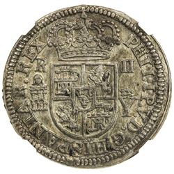 SPAIN: Felipe V, 1700-1724, Segovia, 1708. NGC AU58
