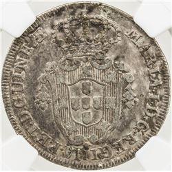 ANGOLA: Maria I, 1786-1799, AR 6 macutas, 1796. NGC EF