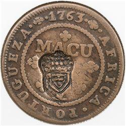 ANGOLA: Maria II, 1834-1853, AE 2 macutas, ND [1837]. NGC VF30