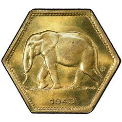 BELGIAN CONGO: Leopold III, 1934-1950, 2 francs, 1943. PCGS MS64