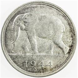 BELGIAN CONGO: Leopold III, 1934-1950, AR 50 francs, 1944. UNC