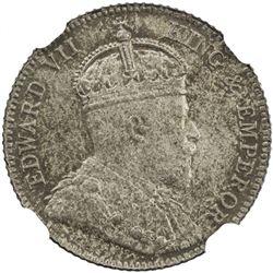 EAST AFRICA & UGANDA: Edward VII, 1901-1910, AR 25 cents, 1906. NGC MS63