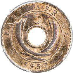EAST AFRICA: Elizabeth II, 1952-, AE 5 cents, 1957-KN. PCGS SP