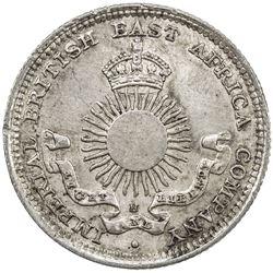MOMBASA: Victoria, 1888-1896, AR 2 annas, 1890-H. UNC