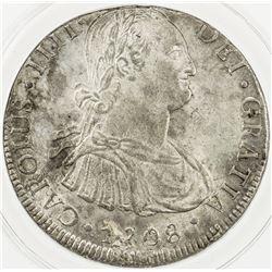 BOLIVIA: Carlos IV, 1788-1808, AR 8 reales, 1808. ANACS AU55