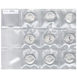 CANADA: LOT of 9 silver $20-for-$20 series coins by the Royal Canadian Mint